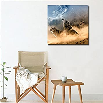 30cmx30cm DVQ ART- Framed Wolf Wall Art Painting Animal with Moon Print on Canvas Modern Artwork for Living Room Decor Ready to Hang 1 Pcs 12x12
