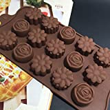Clearance Tuscom Silicone Flower Rose Chocolate Cake Soap Mold Baking,Cavity Ice Tray Mould (Coffee)