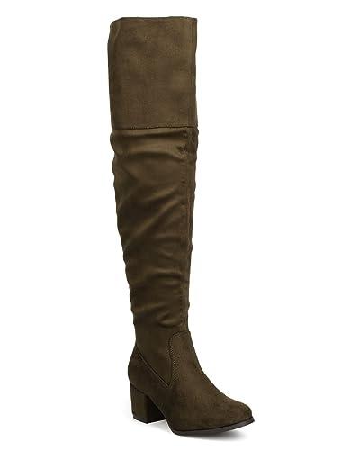 622709c4c77 ShoBeautiful Women Over The Knee Riding Boot Trendy Cuff Almond Toe Chunky  Block Heel Thigh High Boots (TM)