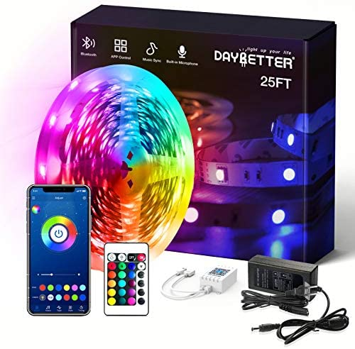 Daybetter SMD 5050 App Control Bluetooth Led Strip Lights - 25ft