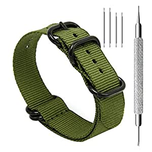 CIVO Heavy Duty G10 Zulu Military Watch Bands NATO Premium Ballistic Nylon Watch Strap 5 Black Rings with Stainless Steel Buckle 20mm 22mm 24mm (Army Green, 20mm)
