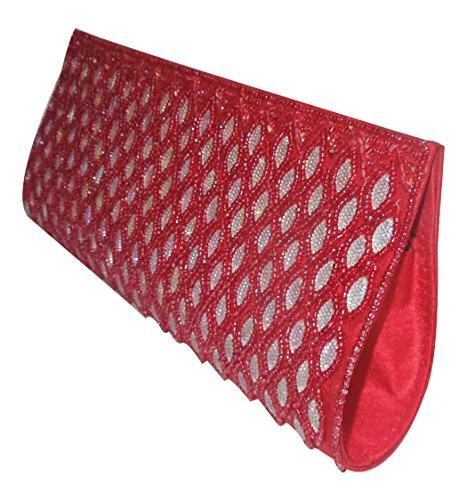 Clutch di seta ricamata a mano rossa di Spice Art