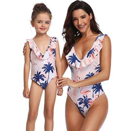 Ababalaya Mommy and Me Matching Family Swimsuits Mother and Daughter Bikini Bathing Suit Beachwear Sets, Flamingo one Piece, Girl, 5-6 Years
