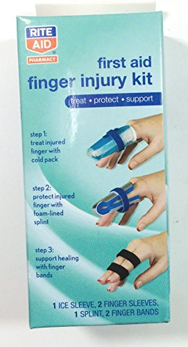 First Aid Finger Injury Kit - Treat - Protect - Support Finger cold pack, Foam Padded Splint and Finger Bands. (Injury Kit)