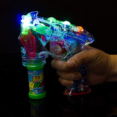 Fun Central I484 1 Pack Light Up LED Transparent Bubble Gun Shooter, Bubble Blower, Toy Machine Bubble Gun with LED Lights, Batteries and Extra Bubble Bottles Included-for Water/Pool/Beach Party ()