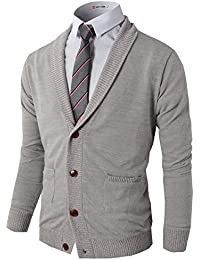 Mens Slim Fit Soft Shawl Collar Cardigan Sweater with Ribbing Edge