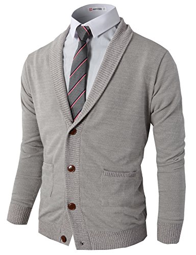 H2H Mens Casual Contrast Button Down Zip up Slim Cardigan Gray US M/Asia L (CMOCAL07)