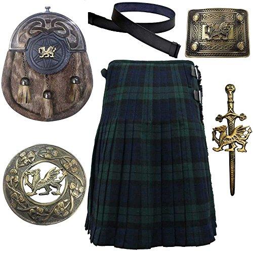Scottish & Highland Kilt Various Tartans with Leather Sporran,Kilt Belt Belt,Fly Plaid Brooch,Belts Buckle Kilt PIn (42