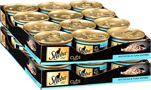 SHEBA Cuts in Gravy Whitefish and Tuna Entree Canned Cat Food 3 Ounces (Pack of 24)