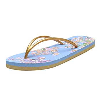 18772259a96b8 Image Unavailable. Image not available for. Color  Seamount Womens Flower  Print Basic Flip Flops ...