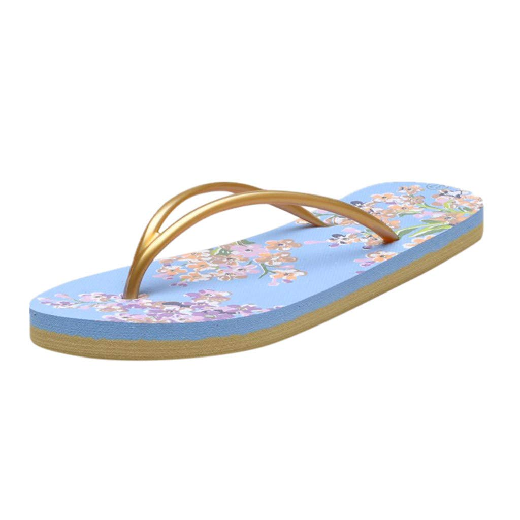 {Minikoad} Women Flat Flip Flops Sandals,Ladies Girls Floral Slippers Beach Shoes (US:7.5, Blue)