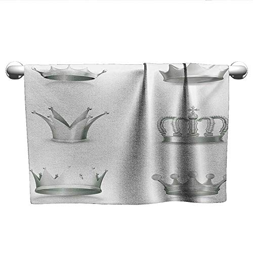 - xixiBO Pool Towel W39 x L10 Grey,Different Kinds of Antique Crowns Queen King Imperial Theme Vintage Symbol,Pale Green and White Ladies Towel