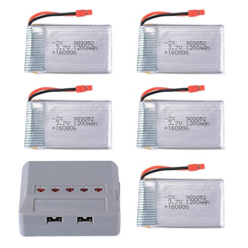 XCSOURCE 5pcs 3.7V 1200mAh LiPo Battery 5-in-1 Charger for Syma X5HC X5HW Quadcopter Drone RC474 by XCSOURCE