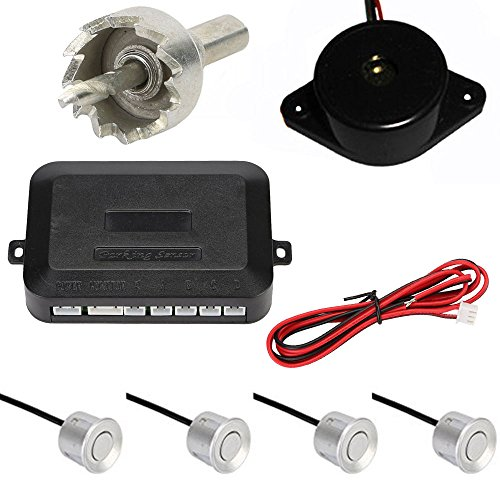 ECLEAR Car Backup Radar Sound Alert + 4 Parking Sensors, Reversing Sensor Kit with LED Display System - Silver (Rain Sensor Circuit)