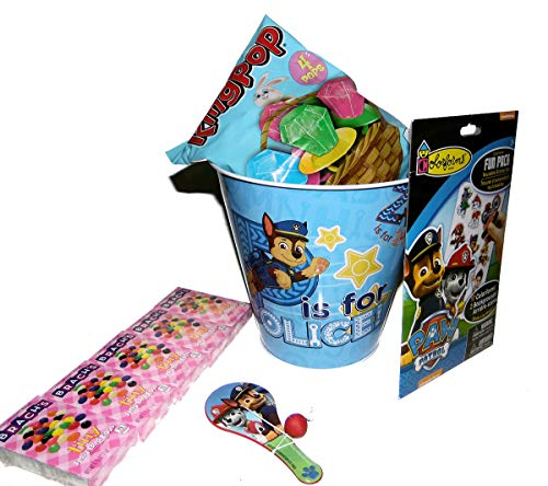 Easter Basket with Colorforms, Ring Pops, Jelly Beans and Small Ball & Paddle Toy in a Metal ()