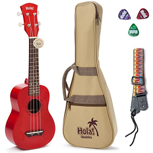 Hola! Music HM-121RD+ Deluxe Mahogany Soprano Ukulele Bundle with Aquila Strings, Padded Gig Bag, Strap and Picks - Red -