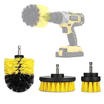 3 Piece Scrub Brush Drill Attachment Kit, Medium Stiffness Brush - All Purpose Power Scrubber Brush Cleaning Kit for Grout, Floor, Tile, Tub, Car Tires, Carpet, Shower, Bathroom Surface, Kitchen