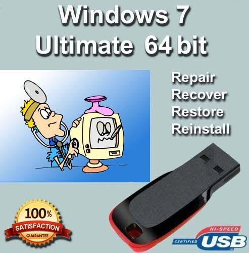 Windows 7 Ultimate 64-Bit Install   Boot   Recovery   Restore USB Flash Drive Disk Perfect for Install or Reinstall of Windows