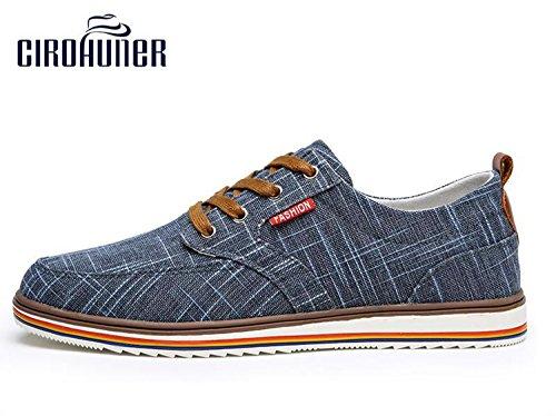 Cirohuner Heren Effen Canvas Lage Top Veters Sneaker Blauwe Jeans