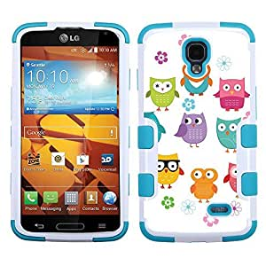 One Tough Shield ? Hybrid 3-Layer Phone Case (White/Teal) for LG Volt LS740 - (Happy Owl)
