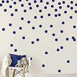 Dark Blue Navy Wall Decal Dots (200 Decals)   Easy Peel & Stick + Safe on Walls Paint   Removable Matte Vinyl Polka Dot Decor   Round Circle Art Glitter Sayings Sticker Large Paper Set Nursery Room