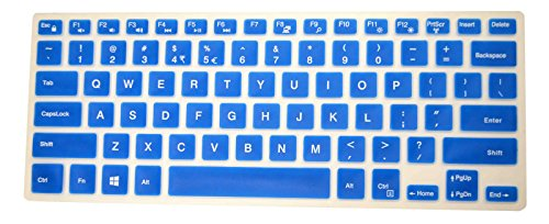 PcProfessional Blue Ultra Thin Silicone Gel Keyboard Cover for Dell Inspiron 14 3000 Series 14
