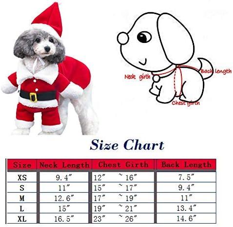 Disfraz de navidad para mascotas con gorro de papá Noel con capucha para Perro y gato 6