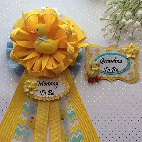 Rubber Ducky Baby Shower Corsage, Rubber Duck Theme Mommy & Grandma To Be Corsage Pin Set, Yellow & Blue Rubber Duck Baby Shower]()