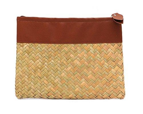 Vintage Handmade Knit Bamboo Rattan Straw Women Zipper Purse - Brown by VietsWay