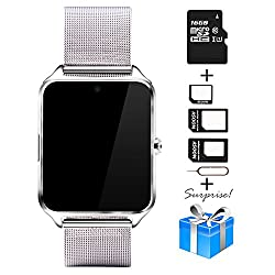 Smartwatch, Collasaro Sweatproof Smart Watch Phone with Camera and SIM Card Slot, Smart Watch for Android Samsung IOS iPhone LG Sony HTC Smartphones (Silver Metal)