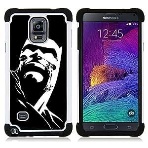 """Samsung Galaxy Note 4 IV / SM-N910 - 3 en 1 impreso colorido de Altas Prestaciones PC Funda chaqueta Negro cubierta gel silicona suave (Cartel Negro personaje de dibujos animados"""")"""