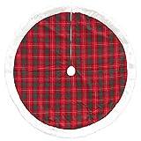 Dyno 48'' Red and Green Plaid Christmas Tree Skirt with Plush Border