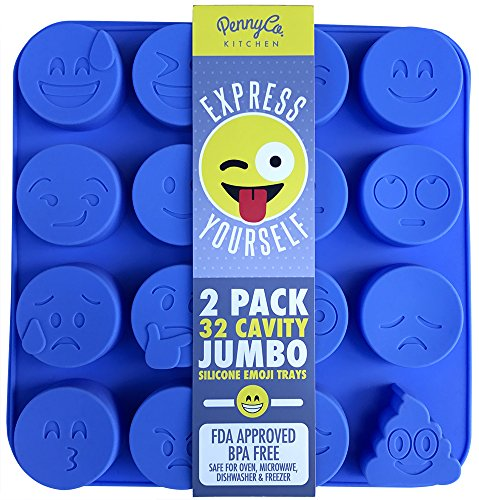 Jumbo Sized Silicone Emoji Molds - 32 Cavity 2 Pack Set by PennyCo - Paper Mold Star