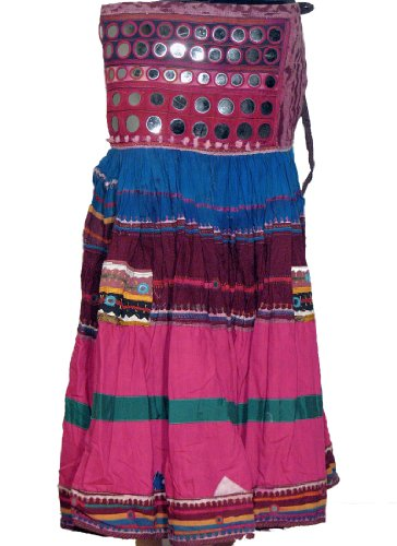 [Banjara Skirt - Hot Pink and Blue Belly Dance Gypsy Tribal Costume Dress Size M] (Banjara Dance Costumes)