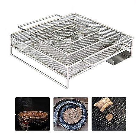 Umiwe Cold Smoke Generator, Pellet Raucher Box Edelstahl Grill Raucher Box, Sägemehl Raucher heiß und Kalt Rauchen, für BBQ Holz Chips Kohle Gas Grills