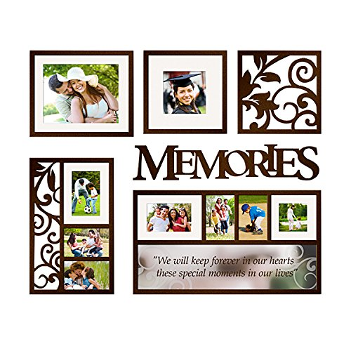 Jerry & Maggie - Photo Frame | Plaque | Mirror College Frame - Wall Hanging Decoration Combination - Dark Brown Picture Frame Selfie Gallery Collage Hanging Template & Mounting Valentine Graduation (Gallery Frames Mirrored)