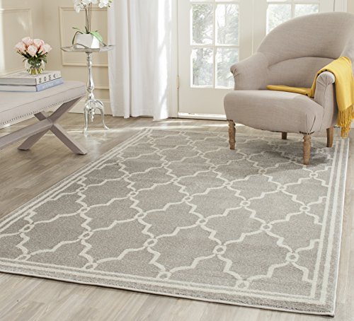 Safavieh Amherst Collection AMT414B Light Grey and Ivory Indoor/ Outdoor Area Rug (3' x 5') White Indoor Outdoor Rugs