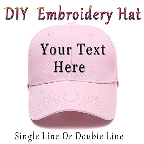 DIY Embroidered Baseball Hat,Custom Personalized Trucker Cap,Add Text(Single Double Line)