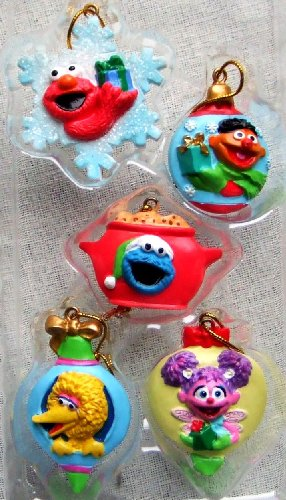 Sesame Street Set of 5 Mini Christmas Ornaments -
