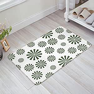 Libaoge Fresh Green Abstract Windmill Pattern Design Doormat Welcome Mat Entrance Mat Indoor/Outdoor Shoe Scraper Floor Mat Bath Mat