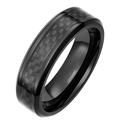 6Mm Black Ceramic Ring With Black Carbon Fiber Inlay Flat Wedding Band For Men Women His Hers 8