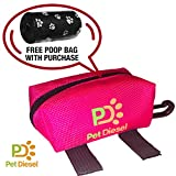 Dog Poop Bag Holder + Free Roll of Poo Bags | Durable Waste Dispenser | Pickup Bag for Your Pet | Heavy Duty, Leak Proof & Non-See Through Holder | Daily Walks & Travel | Zippered Pouch w/Hook (Pink)