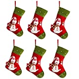 "iPEGTOP 6 Pcs 15"" Felt Christmas Stocking, Craft Holiday Tree Hanging Red Socks Ornaments Decorations Snowman Stockings Green Trim"