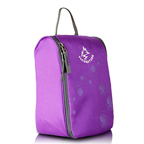 Price comparison product image Facenature Mens Women Travel Make Up Cosmetic Toiletry Kits Waterproof Wash Bags with Hook Hanging Storage Portable Organizer (Purple)