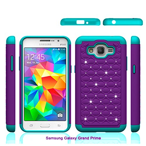 Grand Prime Case, Asstar Shock Absorption Cute Rhinestone Bling Studded Hard & Soft Sturdy Drop Protection 2 in 1 Hybrid Diamond Cover Skin Phone Case for Samsung Galaxy Grand Prime - Samsung Cell Skins Phone