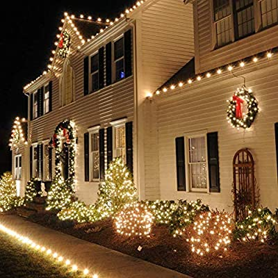 pop mart Christmas Lights 99ft 300 LED Warm White Indoor String Lights Plug in Fairy String Lights 8 Modes Waterproof for Home Garden Party Christmas Tree Window Curtain Decoration : Garden & Outdoor