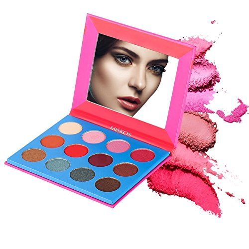 MISKOS 12 Colors Bright Pink Natural Eyeshadow Palette 4 Matte 8 Shimmer Summer Glitter Highly Pigmented Eye Shadow Pallets Cruely Free Pink Girls Waterproof Eye Makeup Kits