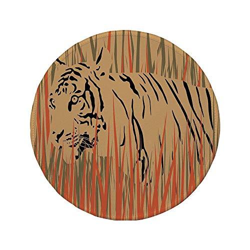 Non-Slip Rubber Round Mouse Pad,Wildlife Decor,Tiger in The Bushes Camouflage Carnivore Predator Feline Africa Animal Art,Peach ()