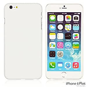 OnlineBestDigital - Comfortable Ultra Thin Solid Color Oil Coated Hard Case for Apple iPhone 6 Plus (5.5 inch) Smartphone - White with 3 Screen Protectors