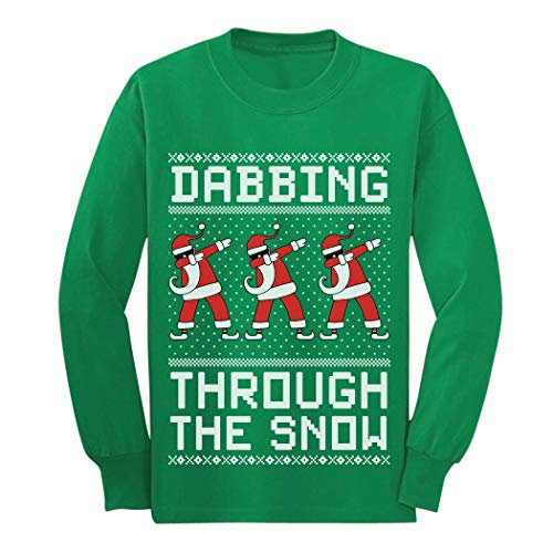 Star Long Sleeve Youth - Dabbing Through The Snow Santa Christmas Dab Youth Kids Long Sleeve T-Shirt Large Green